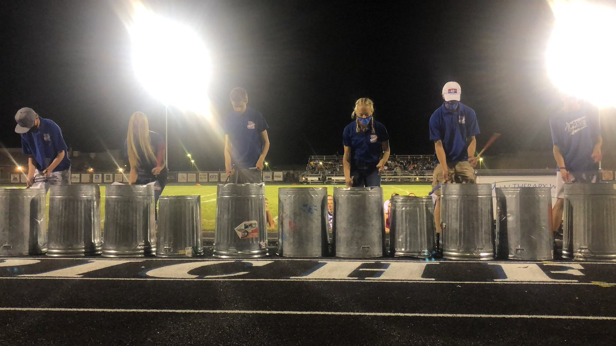 RHS halftime entertainment, percussion with their trash can line. Go cats!!!!