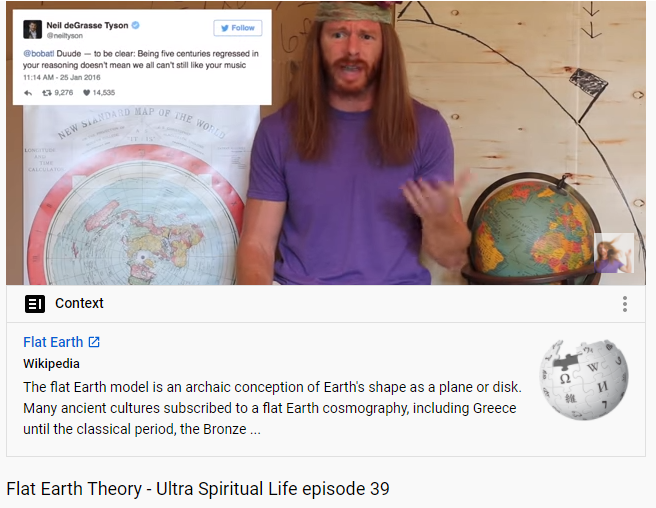 Haha.  Why is 'content moderation at scale' so hard? This hilarious satire video by @AwakenWithJP about flat-earth got flagged with a definition of flat-earth theory on FB. Is catching keywords still the best use of AI? https://t.co/OP1aR370Fo https://t.co/mfWIZoSmQe