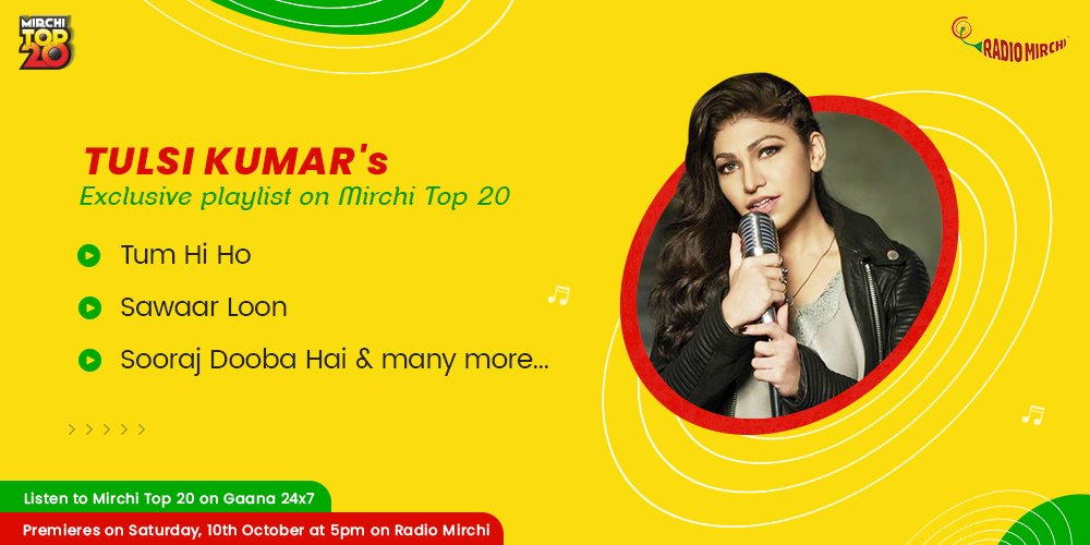 The wonderful @TulsikumarTK is our Top 20 guest for the week!  Listen to her exclusive @MirchiTop20 playlist only on @Gaana and tell us your favourite song! https://t.co/1YALbylq7W   #MirchiTop20 #TulsiKumar #music #lyrics #song #playlist #bollywood #entertainment #saturdayvibes https://t.co/y0gC3mHcs9
