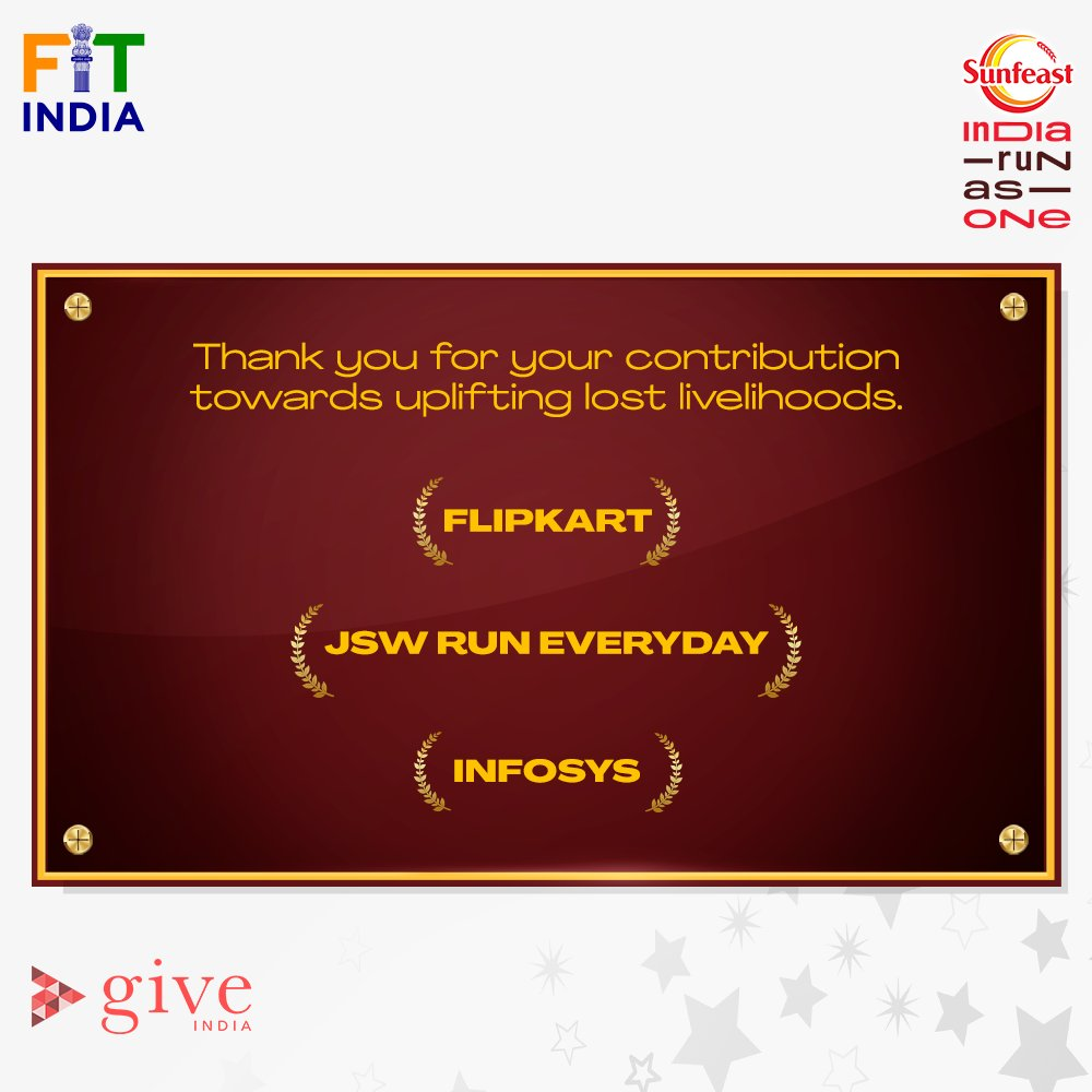 A big THANK YOU for coming forward in support of lost livelihoods.   Shout-out to @Flipkart, @TheJSWGroup, @Infosys for being a part of our endeavours. 🙌  #SunfeastIndiaRunAsOne #LivelihoodsMatter.