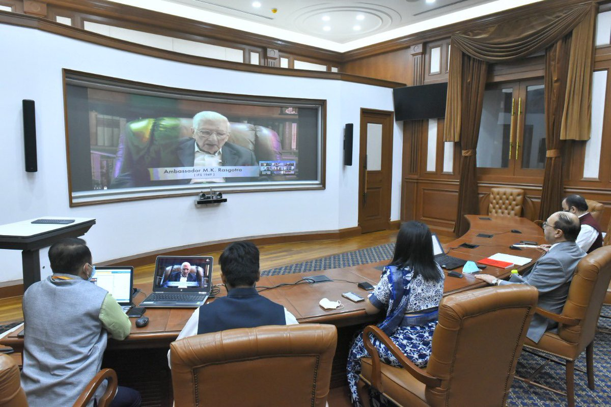 As #IndianForeignService completed 74 yrs #ServingTheNation on 9 Oct, Foreign Secretary @harshvshringla spoke to members of #IFS spread across the globe.   FS highlighted efforts of IFS in these challenging times. Retd Amb M K Rasgotra [IFS: 1949] shared a video message. https://t.co/G4i272NAf1