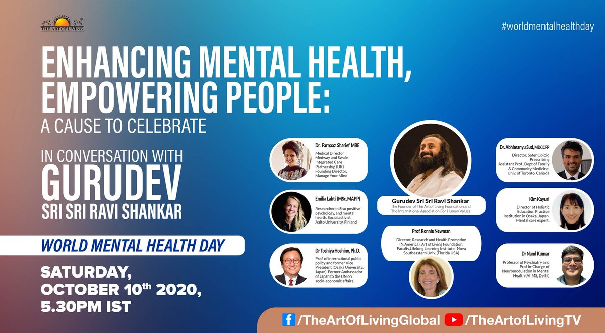 On the occasion of #WorldMentalHealthDay, Gurudev @SriSri Ravi Shankar in conversation with Mental Health experts from around the world, on the necessity of enhancing Mental Health to empower individuals.  Join Live Today at 5.30 PM IST  https://t.co/JGmbkmwJax https://t.co/jKS1R86fFa