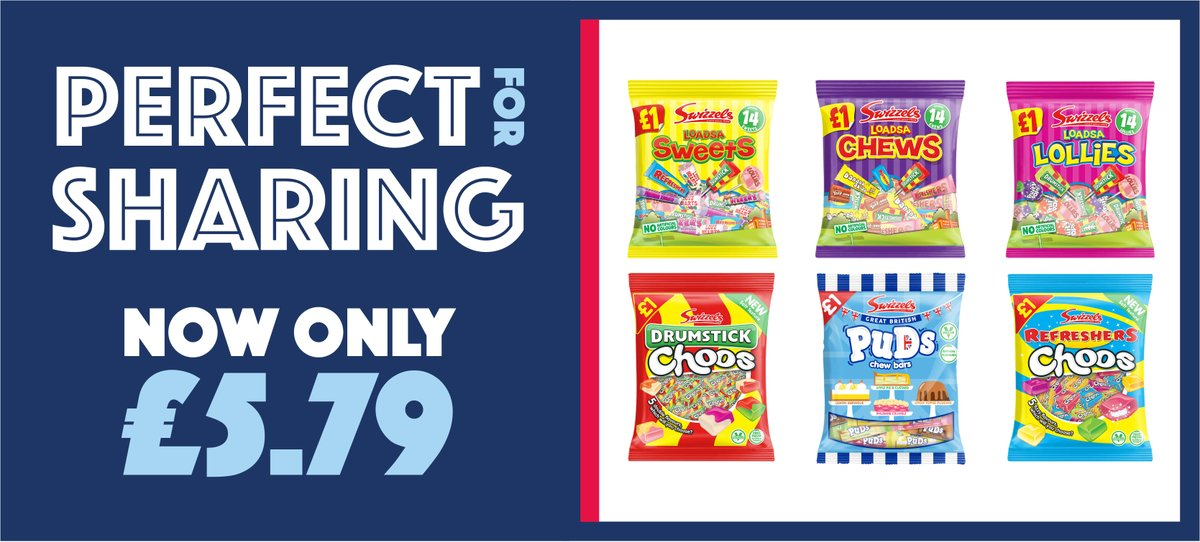 It's the Britain's Got Talent Final tonight! Will your favourite act win? 🏆  These Swizzels bags are perfect for sharing and are only £5.79, giving you a FANTASTIC 42.1% POR!  Order yours online and check out our other great deals on Swizzels here 👉 https://t.co/6YVeYm6pHY https://t.co/LDyEwdCKPN