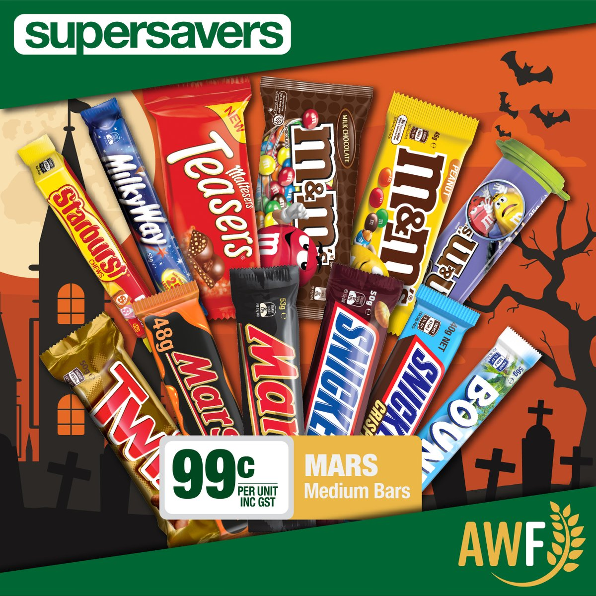 Mars medium bars on special in this months Spooky Savers! Only 89c per unit! View it online: https://t.co/4JQiBKD4hX ------------- 📞 Call us: (08) 9041 1424 📧 Email: sales@allwaysfoods.com.au #supersavers #AWF #AllwaysFoods #marsbars #snickers #twix #mandms #merredin https://t.co/ZETZyijz3p