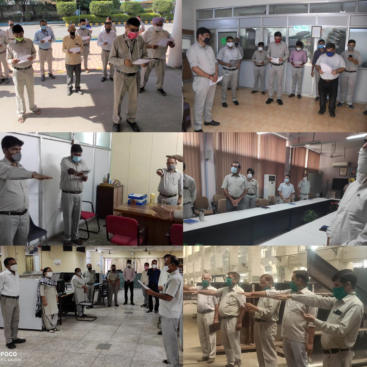 #BHEL's employees at the company's units/sites reiterating their commitment to the war against #COVID__19 by way of a Pledge as part of ' #JanAndolan for Covid-19 Appropriate Behaviour' campaign (Part 1) @heindustry @PrakashJavdekar @arjunrammeghwal #Unite2FightCorona @DPE_GoI https://t.co/o8IUx0CAuX
