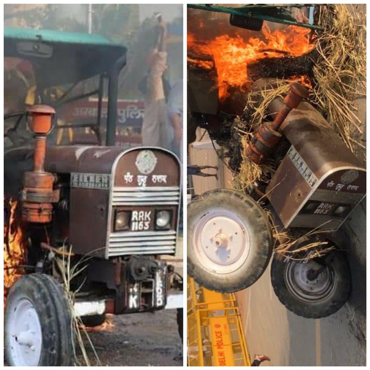 बाई तस्वीर पंजाब युथ कांग्रेस के 20 सितम्बर को अम्बाला के बॉर्डर पर किये धरने में आग लगाए गए ट्रैक्टर की है और दाई तस्वीर जो ट्रैक्टर आज इंडिया गेट पर लाया गया, नंबर प्लेट देखे तो दोनों एक ही ट्रेक्टर है @ManojTiwariMP  @KapilMishra_IND  @p_sahibsingh @INCIndia @TajinderBagga https://t.co/y59KH6DO3l