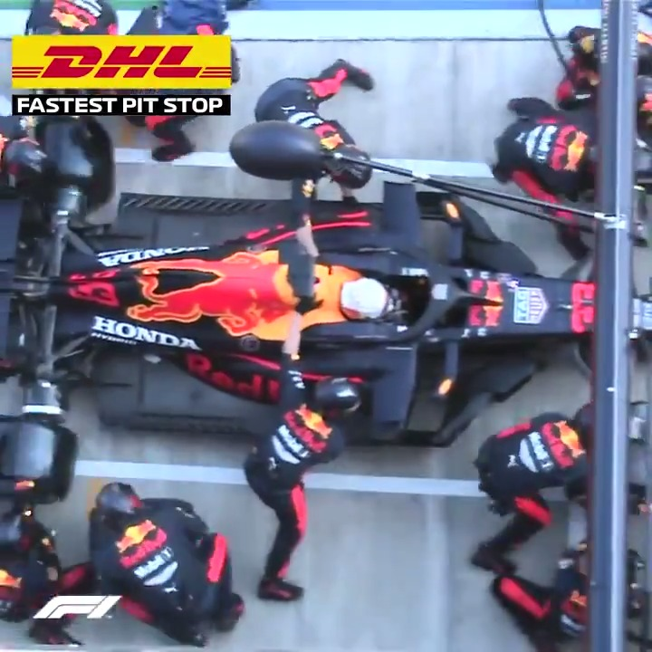 This is @redbullracing at their very best! 💪  They took the DHL Fastest Pit Stop Award at the #RussianGP with this effort of 1.86 seconds, the fastest of 2020 so far  View the full standings here ➡️ https://t.co/zw3OQJXiM3  @DHL_Motorsports #MomentsThatDeliver https://t.co/J071Qpgcv2
