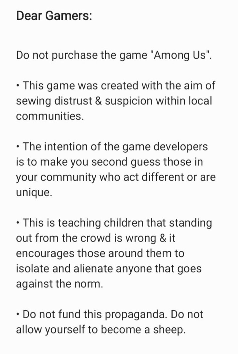 """An open letter to you Gamers out there:  Stop purchasing the game """"Among Us"""".   #feminism #AmongUs #gamingcommunity https://t.co/UPE6IvSCBt"""