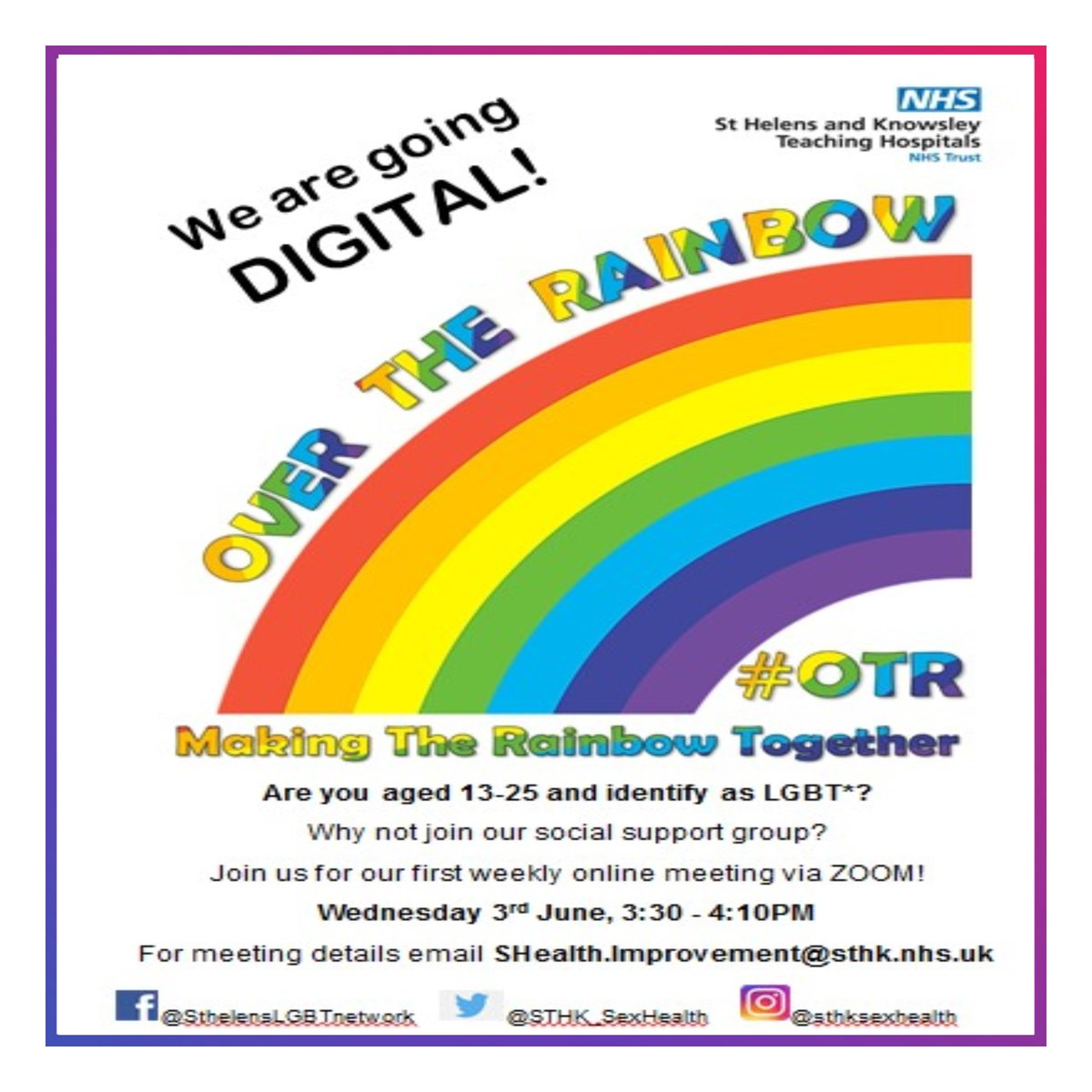 Identify as LGBTQ+? Why not join the Over The Rainbow social support group?   For more information contact - 🌈  SHealth.Improvement@sthk.nhs.uk    #lgbt #loveislove #gay #lesbian #transgender #bisexual #lgbtpride 🏳️🌈 https://t.co/azPLo1qNKM