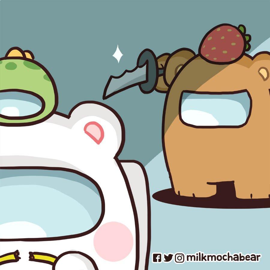 Mocha is kinda s̶u̶s̶ simp ---⠀⠀ Feel free to mention your gaming partner! 🎮👊  #milkmochabear #amongusfanart https://t.co/qOvVz0iMrX