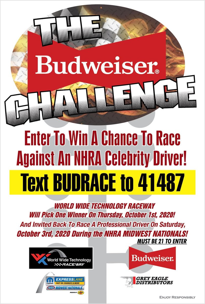Only a couple of days left to register for the @budweiserusa Challenge!   Text 'BUDRACE' to 41487 to enter to win a chance to race a @NHRA driver on Saturday of the /@OfficialMOPAR Express Lanes NHRA Midwest Nationals presented by @Pennzoil.   @GreyEagleDist https://t.co/swiIRiGWuD