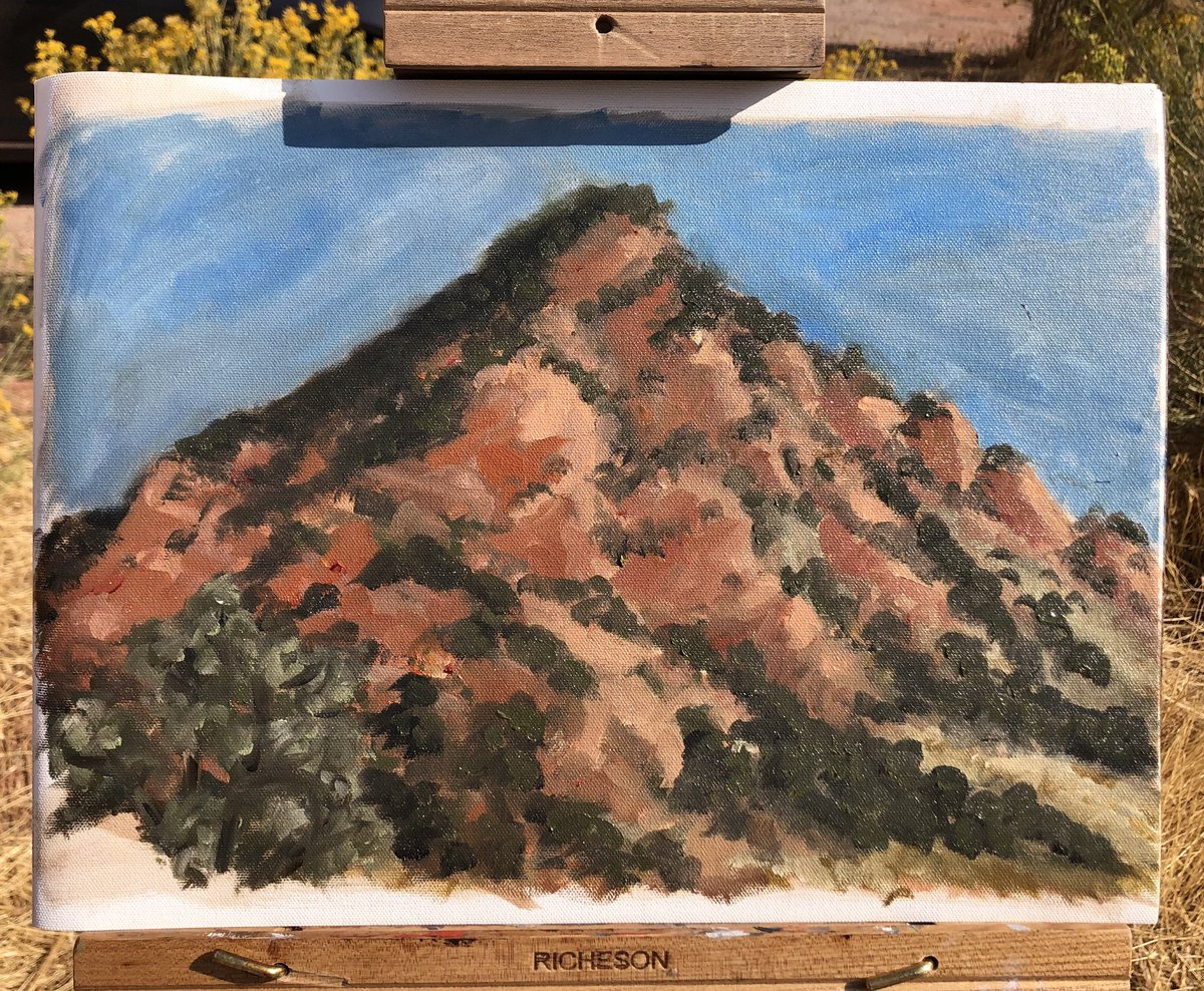 Another plein air from this weekend! This one went a lot smoother haha  #art #paintmosi #artistsoninstagram #traditionalart #oilpainting #pleinair #sketch #landscape #environment #scenery #cedarcity #utah #mountain #redrock #trees #sky #orange #blue https://t.co/LJDZHqvCxf