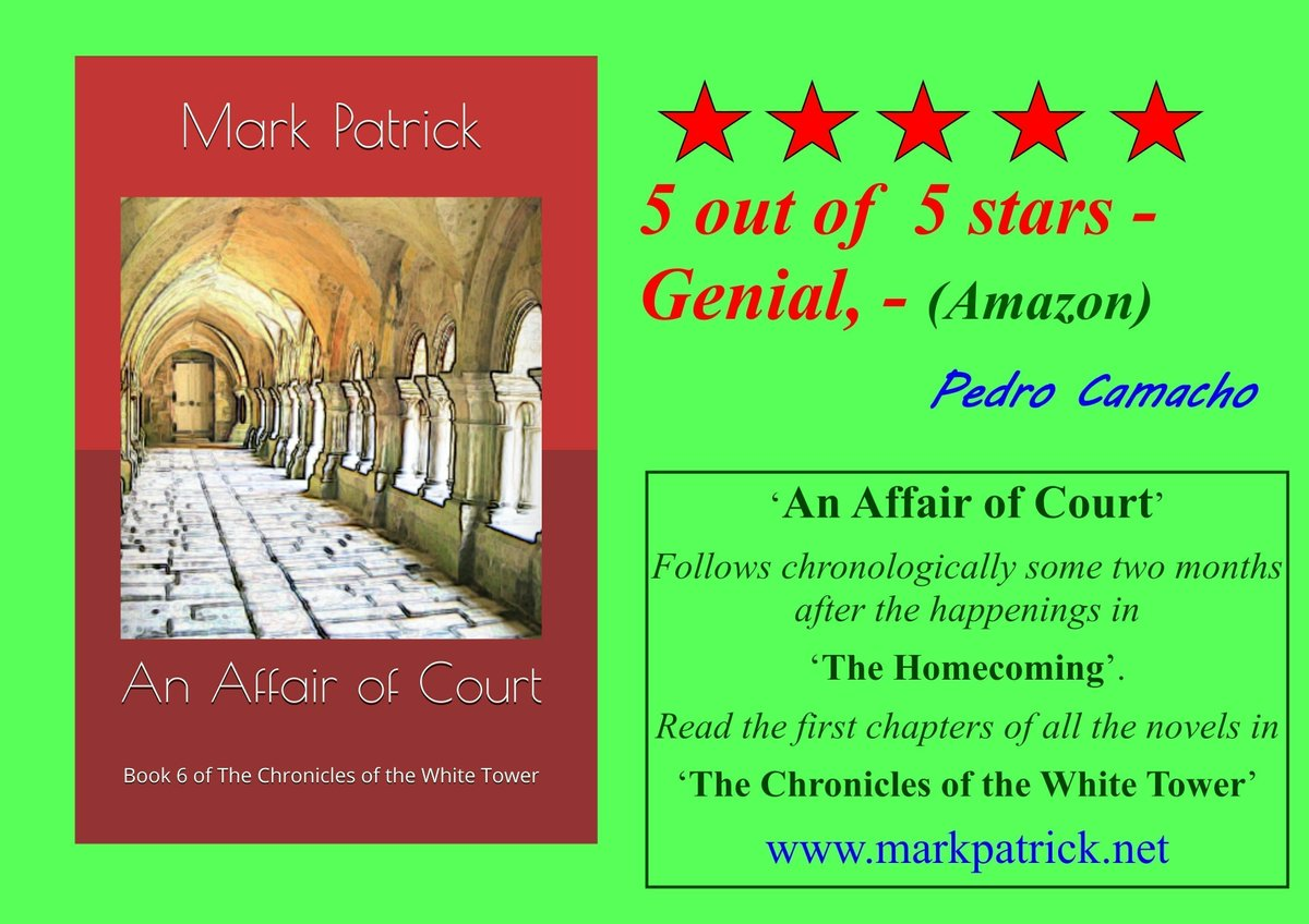 5 out of  5 stars - Genial, - (Amazon) - Pedro Camacho  An Affair of Court  Read the first few chapters FREE at -  https://t.co/mu8mCpPaE1 Buy (universal Amazon link) -  https://t.co/AYvh7irGAy Paperback or Kindle (KU) #booklovers #fantasy #medieval #BookShelf #Novel https://t.co/1nDTIh39QF