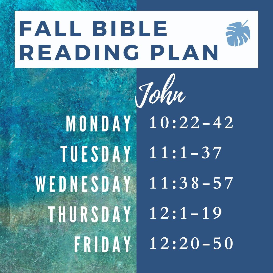 Week 5 of our Fall 2020 reading plan, continuing through John. Jump in here or find the whole plan at https://t.co/T9uuEp0j3F.  #fall2020 #uark #bible #biblereading #conc #john https://t.co/etYPUnh84J