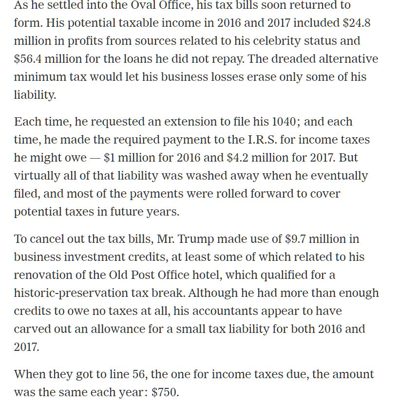 So.  I finally read the NYT Trump tax story because I wanted to see what line was being reported for taxes owed and I came across this about the $750 in 2016 and 2017.  Per the NYT own story, Trump actually paid to the US Treasury $1 million in 2016 and $4.2 million in 2017. https://t.co/ltnlMG0mKW