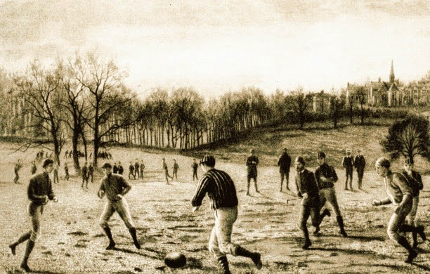 THE KEEPER CAN HANDLE THE BALL ANYWHERE IN HIS HALF OF THE PITCH:   Football looked very different in the early days, and this rule was just one introduced in 1870 in an attempt to codify the game. Whilst keepers weren't allowed to carry the ball, some found a way around it... https://t.co/orsa6AWXgn