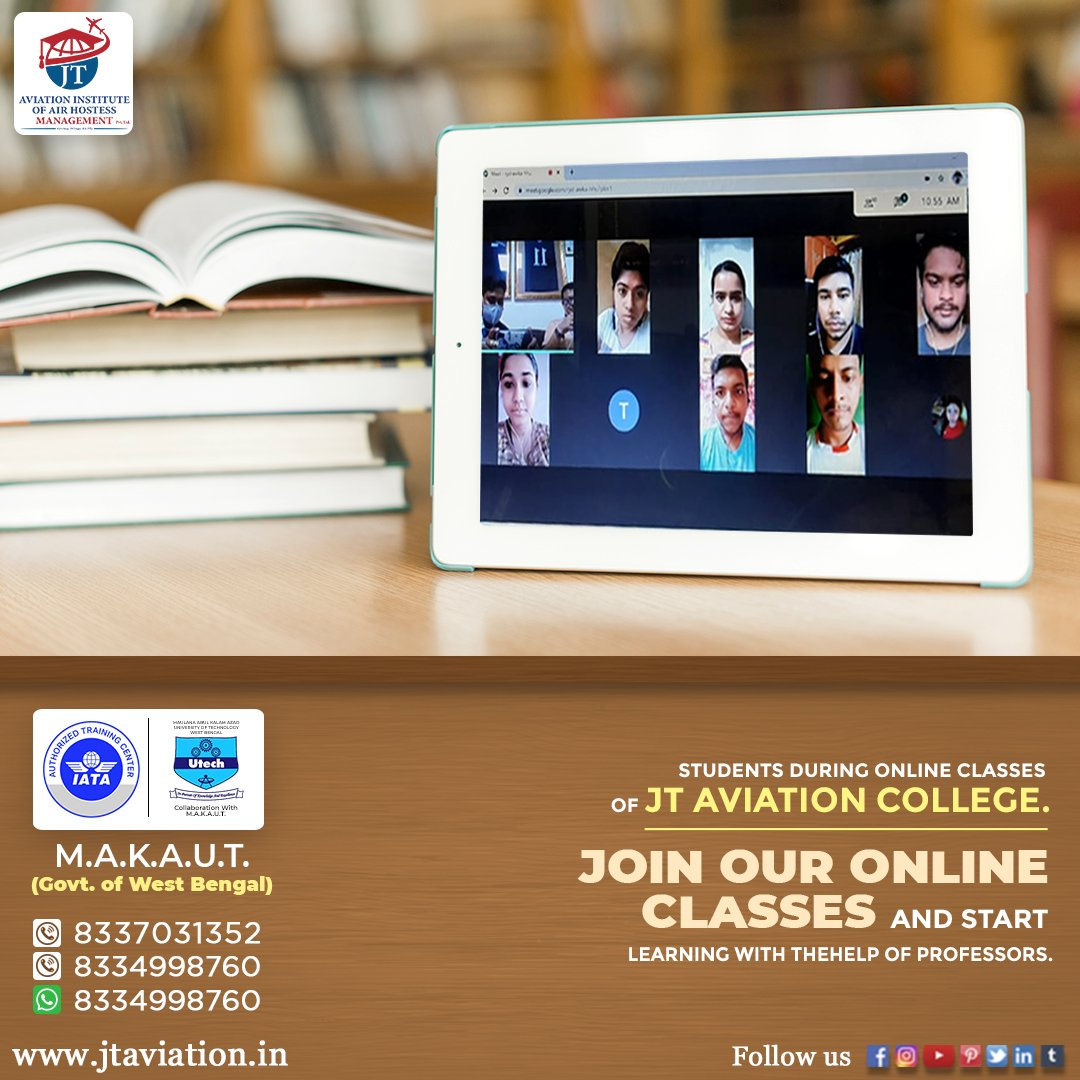 Join JT Aviation College! online registration is now open. Hurry! join us today. 📚✈🎓🌏👩‍✈👨‍🎓 ✅ Log on to: https://t.co/0aiEyhsJR2 👈 ✅ Visit IATA: https://t.co/4pyLWiELje 👈  #IATA_Authorized #MAKAUT_Govt_of_Westbengal #aviationlife #career #placement https://t.co/ALrzwP7TBd
