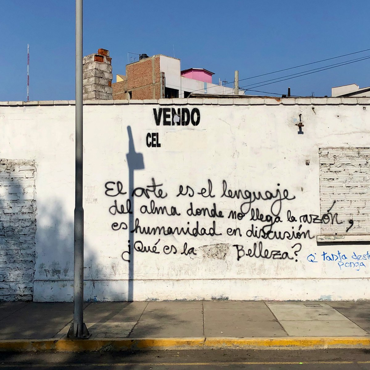 """""""Art is the language of the soul where there is no reason...it is humanity in discussion - what is beauty?""""  #StreetsSpeak #PublicCommons #Lima #Peru https://t.co/4DwBwQ800U"""