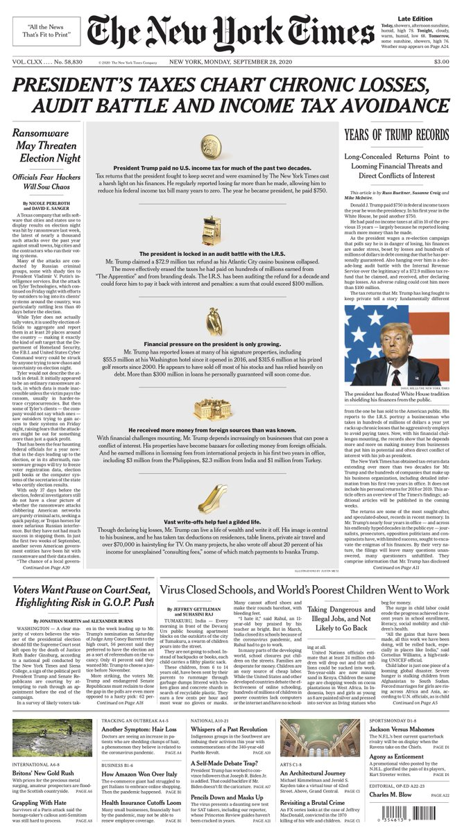 TODAY'S RADAR, 9/28/20:  •37 days til Election Day,debate tmrw night •204,762 US COVID deaths •Trump coronavirus testing event at WH • Biden: debate prep •GOP sets SCOTUS timeline •BIG STORY:Taxes! And Trump $421M+ in loans due in second term https://t.co/3op3us3ZnF https://t.co/1XXy55GFL1