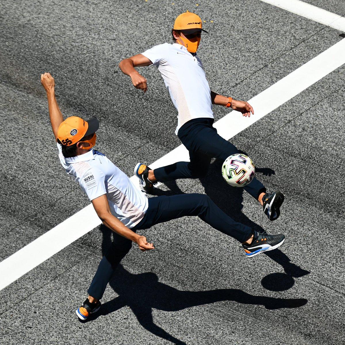 🔶 @McLarenF1 🆚 @ScuderiaFerrari 🔴  Who would win? ⚽️  #F1 https://t.co/OHhv7Zd33r