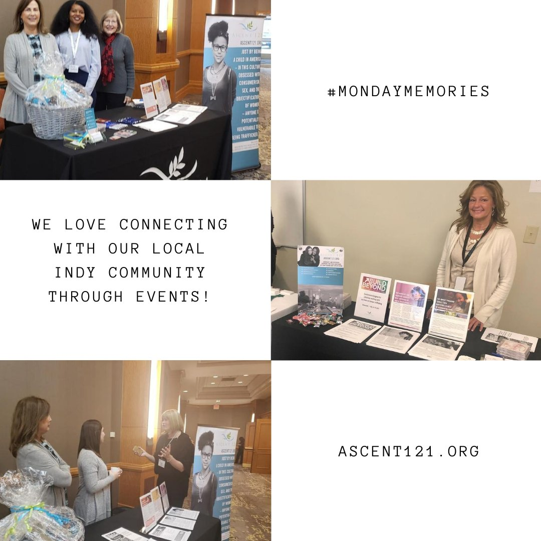We love connecting with you through our local community events and cannot wait for some virtual events in our future! It truly is a joy to meet all of our supporters and make new connections!   https://t.co/Zh2gQACTTp  #Ascent121 #nonprofit #indy #sextrafficking #mondaymemories https://t.co/1uRVuRDJum