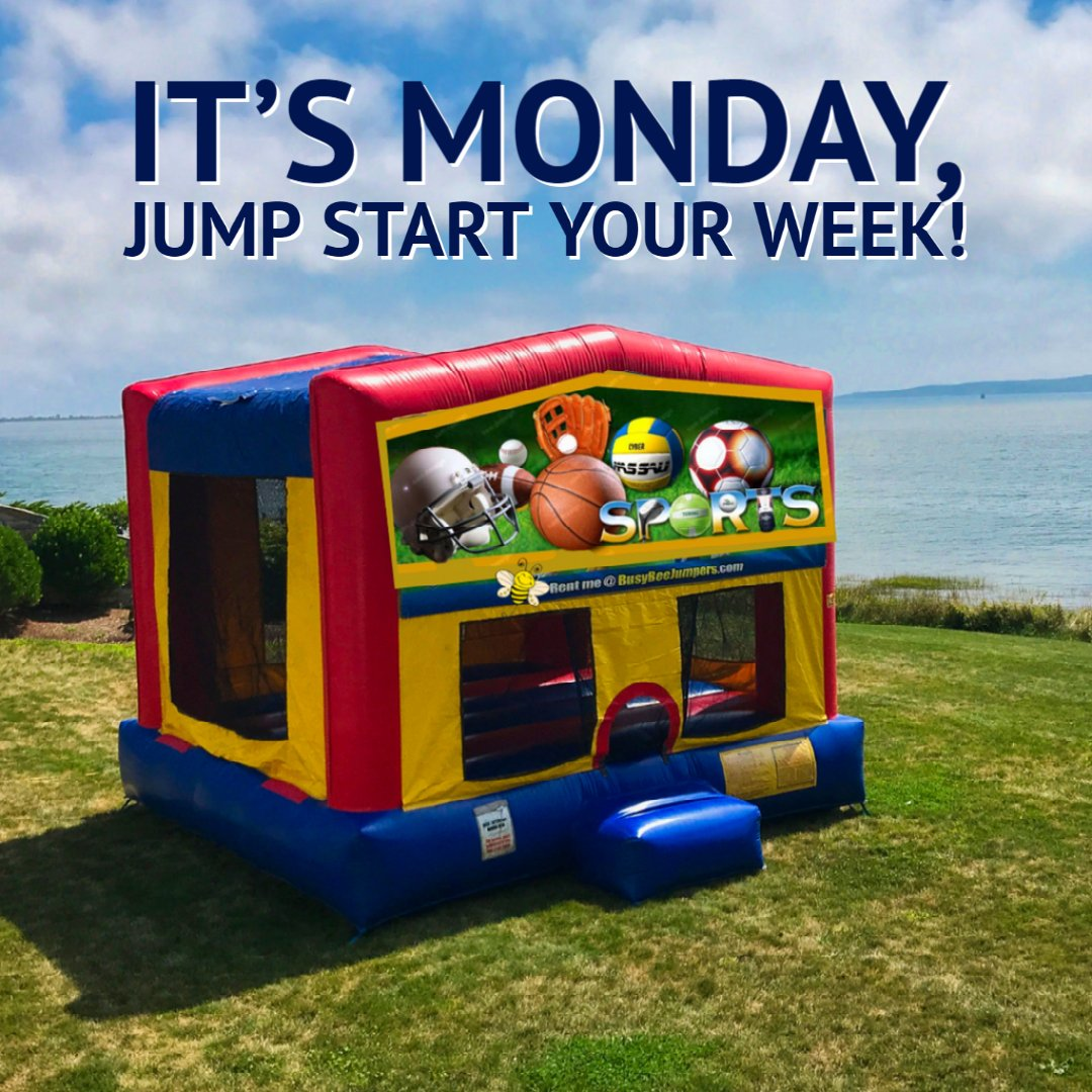 Jump start your week with a Bounce House Rental from Busy Bee. It's good, clean FUN for the whole family! We deliver, set-up and pick-up! 781 447-8300 #WeDeliverFun #BusyBeeJumpers #BouncyCastle #Bouncehouse #inflatablepartyrentals #jumpers #Boston #SouthShore #bouncehouserentals https://t.co/OWmJmv4Iu5