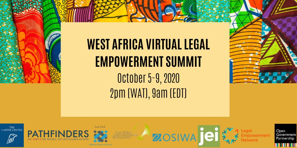 Register now for the FIRST West Africa Legal Empowerment Summit!   This new summit brings together community-based paralegals & justice actors to begin a regional conversation on legal empowerment and the need to ensure #JusticeForAll. #WAfricaLESummit   https://t.co/WatpqZeMg4 https://t.co/2DUgLqcW5K