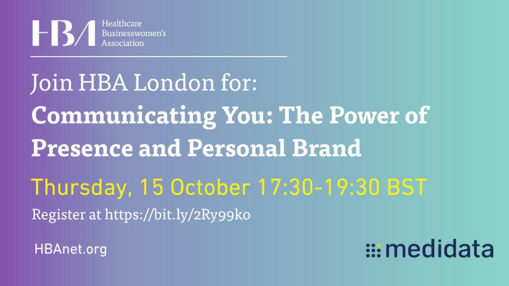 Join Medidata and @HBAnet London for a session on how to maximise your presence and communicate your personal brand. Register here: https://t.co/TmR90mrwR0 #HBAImpact #HBALondon https://t.co/BDAH1oRcA3
