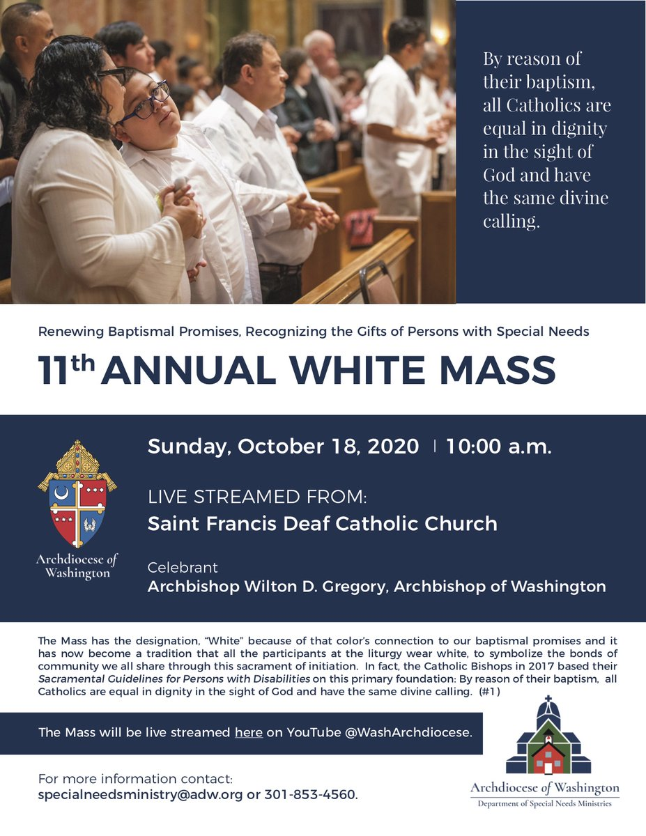 Join us October 18th at 10 am for our 11th annual White Mass.  This year's Mass will be live streamed from St. Francis Deaf Catholic Church where @ADWSNM is based.  Come & let us meet together as one holy Catholic family!  #BelongingStartsHere #PertenecerComienzaAqui https://t.co/lL8tBp03Xh