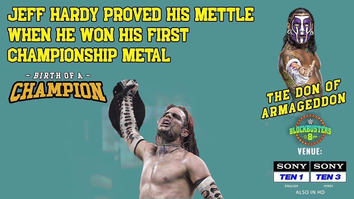Jeff Hardy 🆚 Edge 🆚 Triple H  Armageddon 2008 🔥  Be a part of the Charismatic Enigma's first title triumph on #BlockbustersAt8 🤩 🕗 8 PM 📺 Sony TEN 1 (English), Sony TEN 3 (Hindi)  #WWEIndia #WWEonSony #EntertainmentPatakKe #SirfSonyParDikhega #SonySports #JeffHardy #HHH https://t.co/Q99nbXXLDz