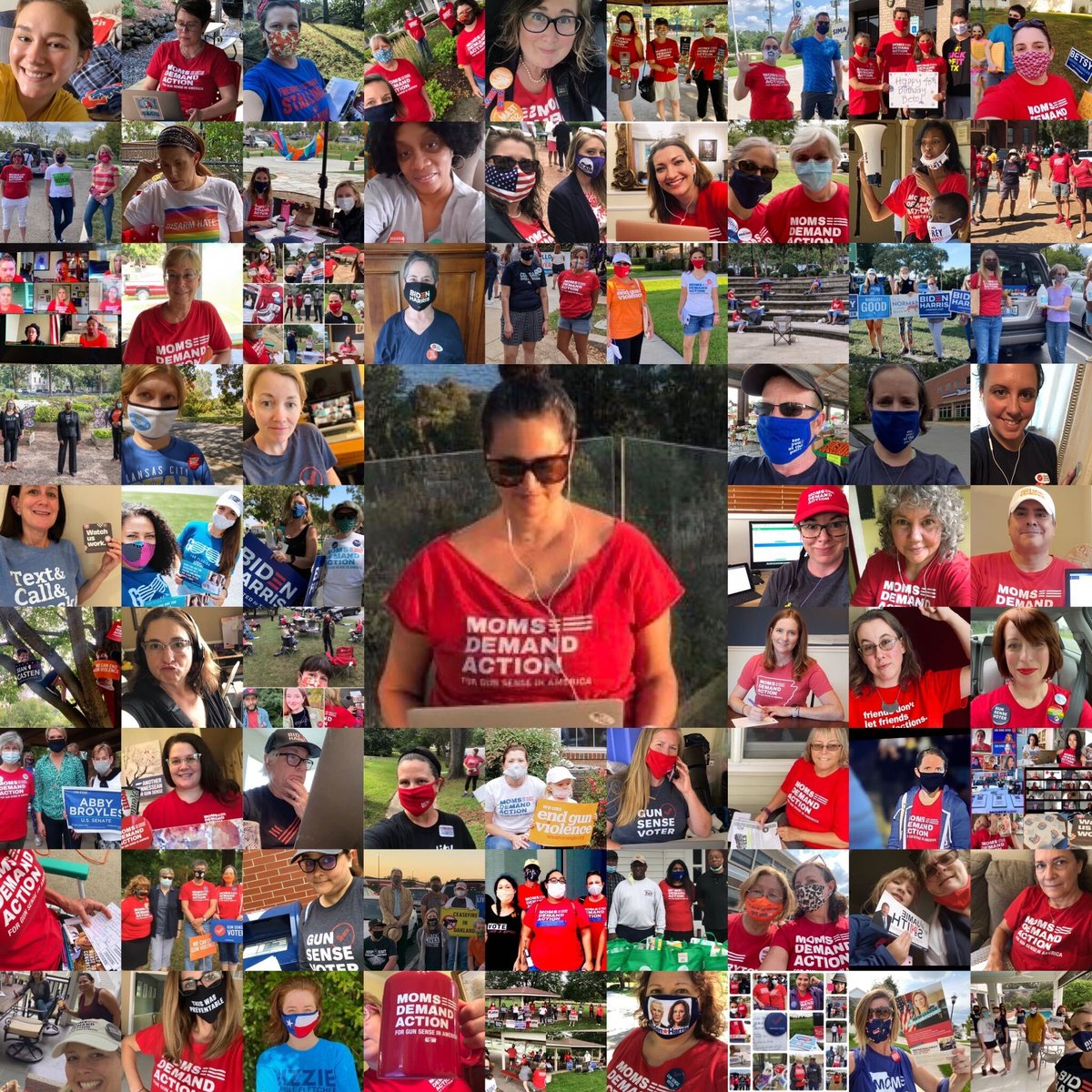 This weekend @MomsDemand vols across the country stood with community partners, talked gun safety & called, texted, lit-dropped & CALLED (@tweet_elva - center - alone made 14hrs of bilingual calls 4 #GunSenseCandidates in TX) #MomsAreEverywhere #Election2020 https://t.co/e2DgSROfOE