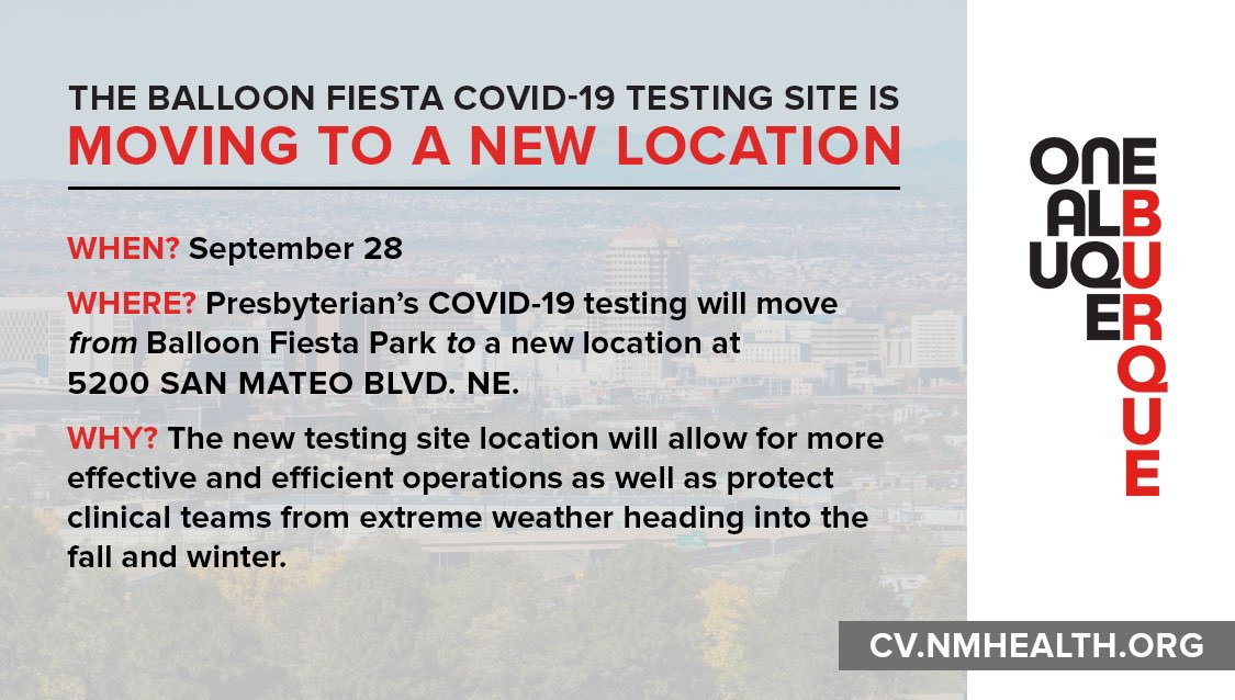 The Balloon Fiesta #COVID19 testing site has moved to a new location as of today.  It is now at 5200 San Mateo NE.   A printable map of the new location is here: https://t.co/L52UWJE1oq  For a complete list of testing sites: https://t.co/PpN6T7TS1m #AllTogetherNM #anewday4NM https://t.co/Kunjja3nzb