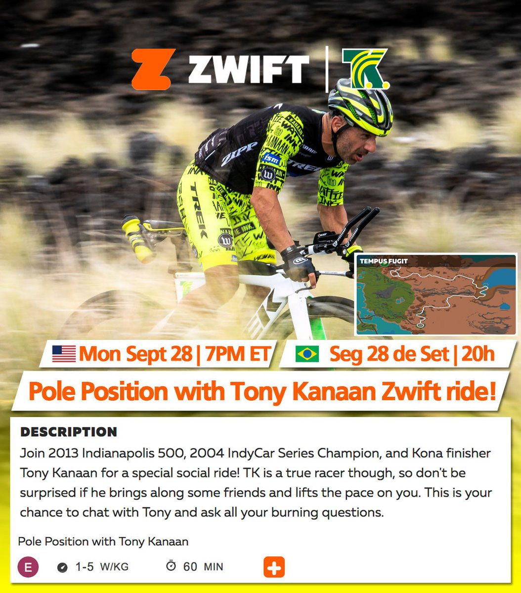 🇺🇸 🗓 ⏰ ➡️ Tonight is @gozwift Pole Position with Tony Kanaan ride night! Join me at 7p ET for some good @GoZwift @GoZwiftTri bike 🚲 ride. Find the ride on the Companion app or 👉🏻 https://t.co/7XTFMEbZyy #GoZwift https://t.co/7JYrd3Ym3B