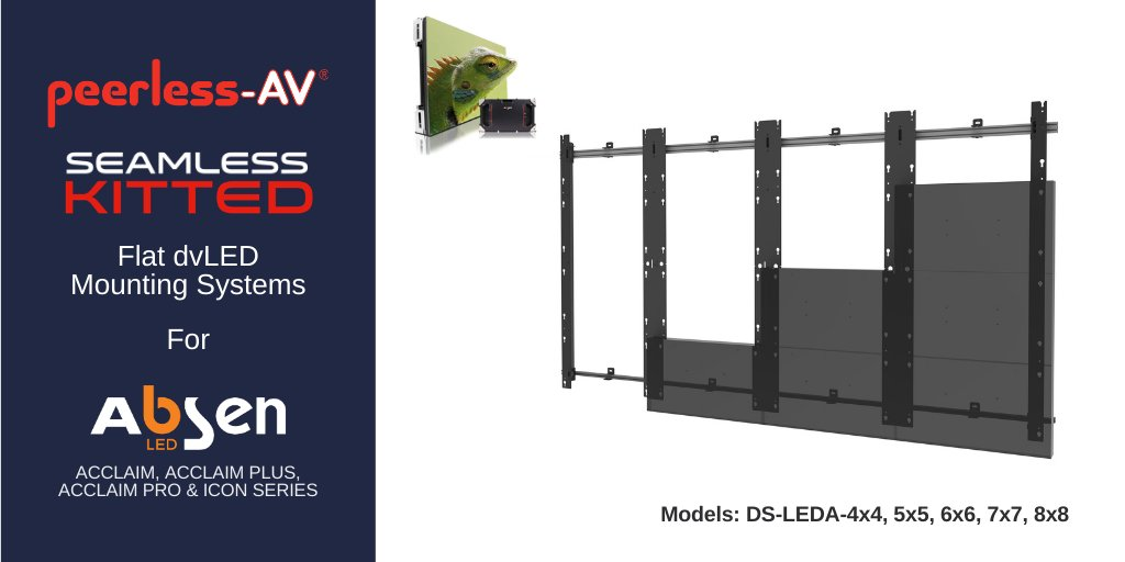 Peerless-AV offers dedicated dvLED Video Wall Mounts for @LEDAbsen Direct View LED Displays (Acclaim, Acclaim Plus, Acclaim Pro and Icon Series). One of eight models in the new SEAMLESS Kitted Series, find out more: https://t.co/uozZSRx6lZ  #avtweeps #dvled #mountingsolutions https://t.co/rgh1LtRWy8