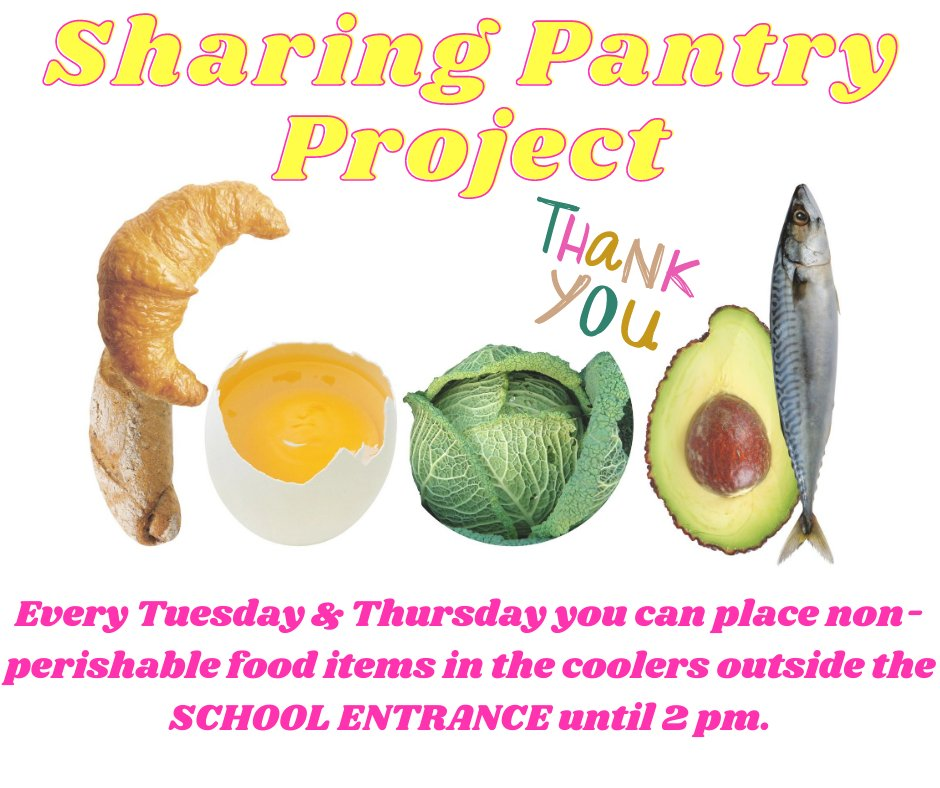 Every Tuesday & Thursday you can place non-perishable food items in the coolers outside the SCHOOL ENTRANCE until 2 pm.  We're always in need of: cereal, peanut butter & jelly, dry pasta, canned veggies, tuna fish, soup, canned fruit, or Mac n cheese.  Thank you for everything! https://t.co/52C0WplRld