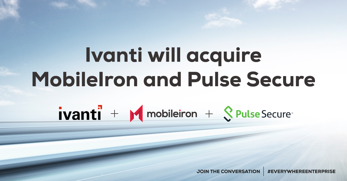 🚨Big News! We're excited to announce that MobileIron is joining forces with @GoIvanti and @PulseSecure! Our combined company will meet the increased market demand to secure and enable the #EverywhereEnterprise and #FutureofWork. Read more here:https://t.co/0VntgmSmtM https://t.co/DUGW6UFl6l