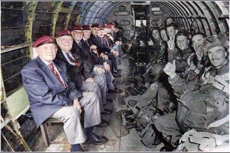 Amazing photo. The men on the right are about to paratroop into France on D-Day. The men on the left are the same men today. More remarkable? - It's the same plane!! God bless our heroes. #History #Heroes #WWII #aviationlovers #Memorabilia https://t.co/rP0vylJ0N8