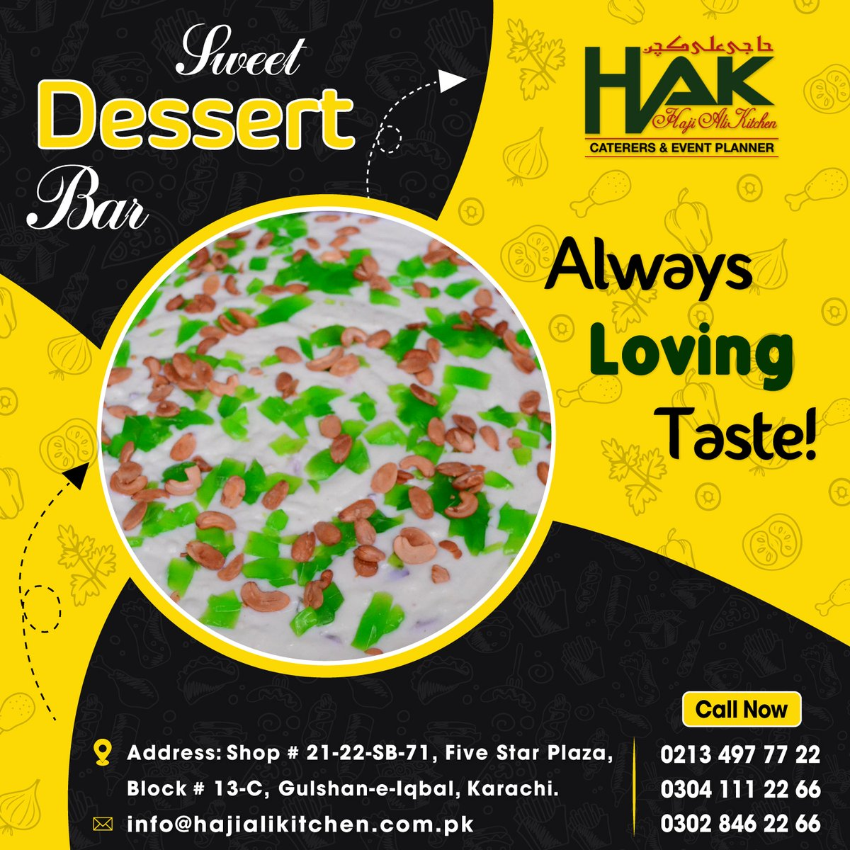 #HAK gives you Sweet Dessert for your special Occasion, Book your orders Call Now: 021-34977722, 0304-1112266, 0302-8462266 or visit: https://t.co/a1Z29kRIK8  #Tasteful #Dessert #Creamy #Events #Occasion #Party #Wedding #Specialty #Foodie #Quality_Food #FoodLover #Catering https://t.co/8WFYURUvcN