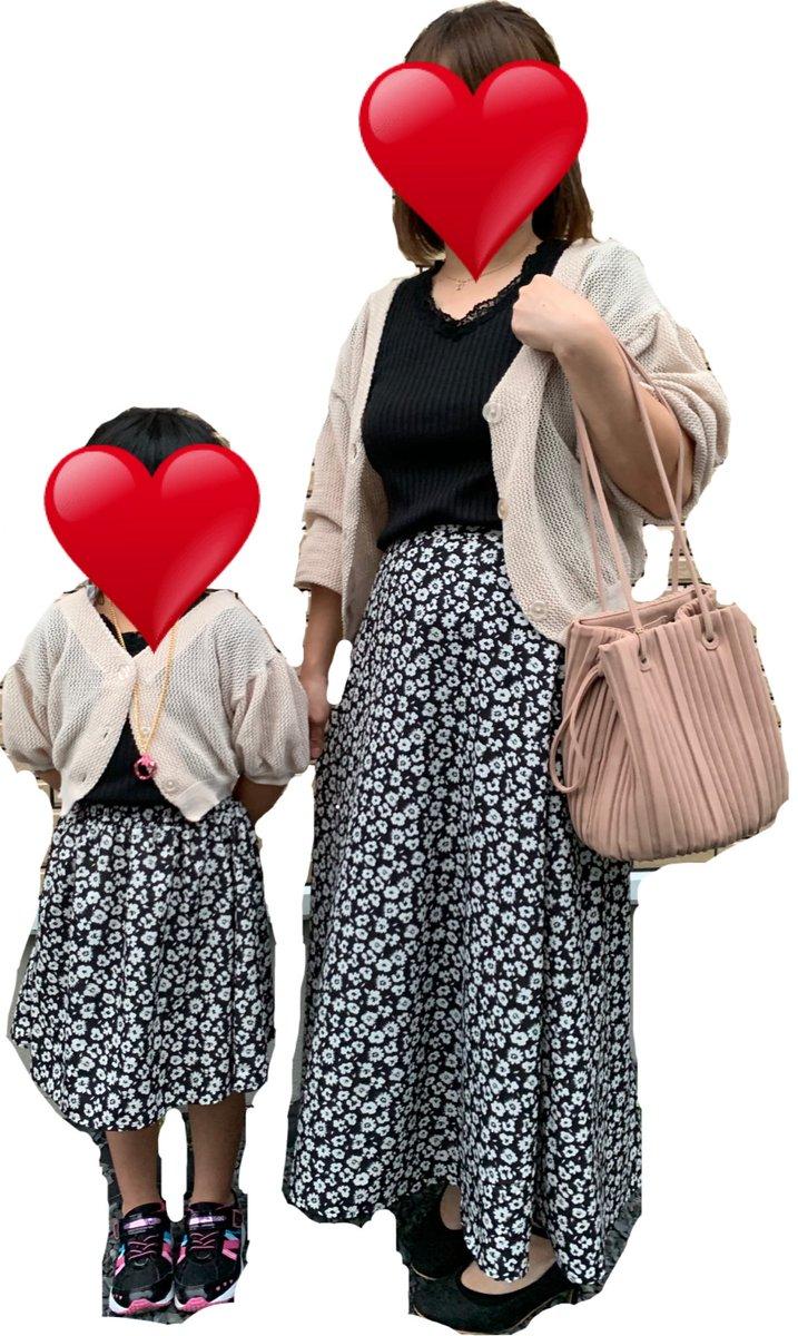 親子リンクコーデ❤暑さもやわらいできたのでお揃いで着ました❀(*´▽`*)❀また親子で着れるものが発売されることを期待しています!洋服、イヤリングはあやさん❤ネックレス、バッグはMUMUさんです!#しまむら#しまパト#プチプラのあや #あやらーコーデ #MUMU