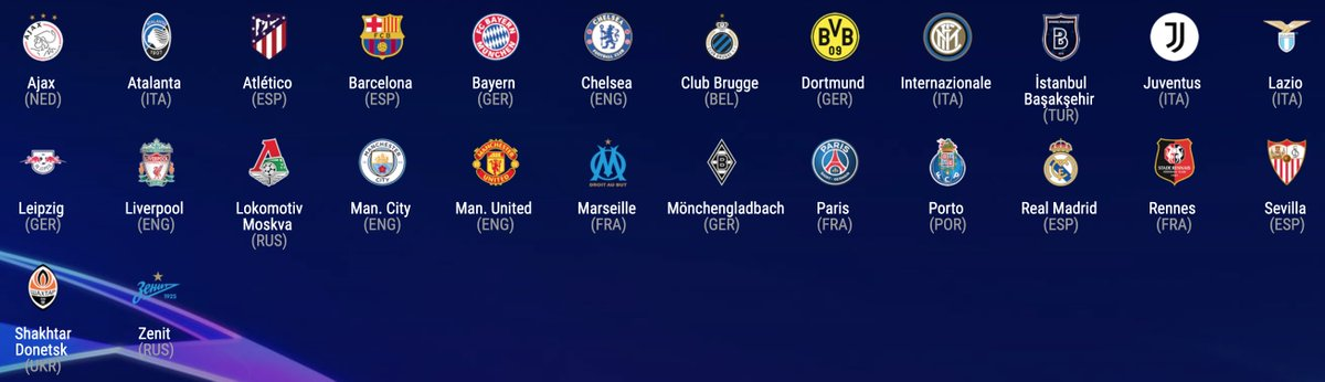 ⚽ Equipos ya clasificados para la fase de grupos de la Champions League.  🔜 Esta semana conoceremos a los últimos seis clasificados tras los play-offs.  🎲 Y el jueves a partir de las 17:00 HEC el sorteo de la fase de grupos.  #UCL https://t.co/R7L3Or19aq