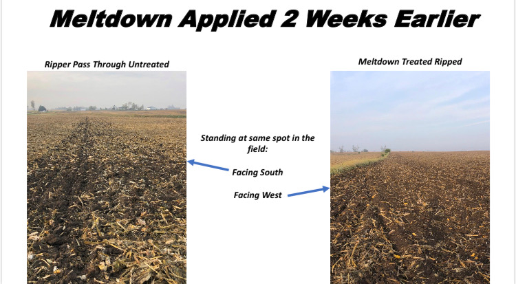 This field in Central IA had MeltDown applied to half the field & then ripped 2 weeks later. The side that had biologicals shows how easy it was to work the ground.    Apply MeltDown today! Contact us at info@biodyne-usa.com.  #Harvest2020 #MeltDown #BetterBiology #Agronomy https://t.co/87A1o82AEO