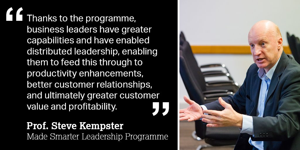 Prof. Steve Kempster, one of our leading academics on the #MadeSmarter #Leadership Programme @LancasterManage  talks about the benefits of the programme to #SME businesses in the #NorthWest. Read more: https://t.co/DQYnj43EJ0 @MadeSmarterUK #MSLP #UKmfg #DigitalTransformation https://t.co/BLfrZKOOon
