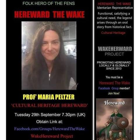 'Cultural Heritage Hereward' by #MariaPeltzer @PeltzerEugenia #Michaelmas Presentation. Tue 29 Sept 7:30pm UK. You must be a member of #HerewardTheWake Facebook Group to obtain link. #WakeHereward #Hereward #CulturalHeritage #Folklore #Battle1066 #Fenlands #Ely #Bourne #Crowland https://t.co/JAdHhKqc29