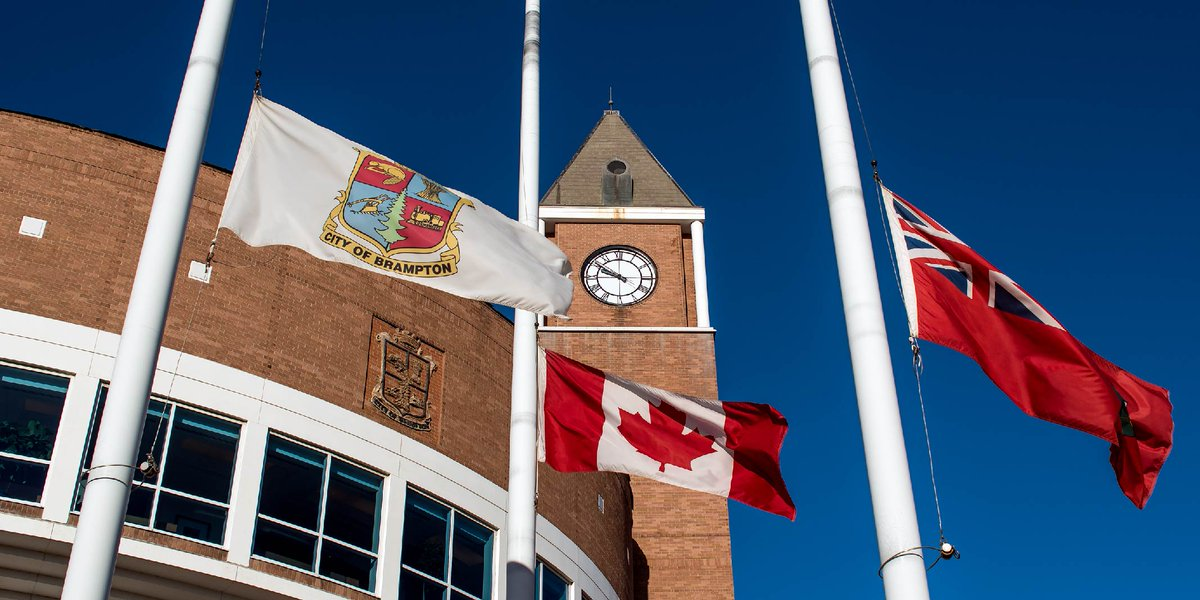 The flags at Brampton City Hall are half-mast today in memory of our late employee Cindy Tate, who passed away on September 27, 2020. https://t.co/V64phvw3sk https://t.co/Z0tlU9CB9b