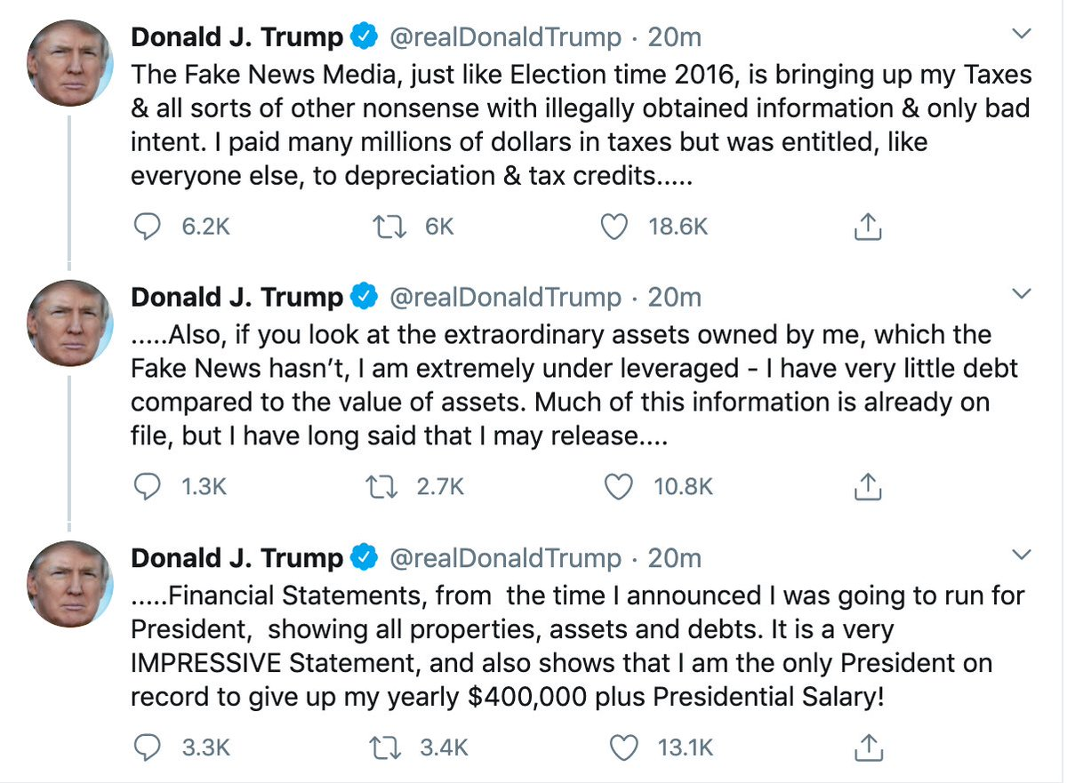 Trump threads three tweets defending himself against the NYT tax avoidance story: https://t.co/Y6iZj2M2DX