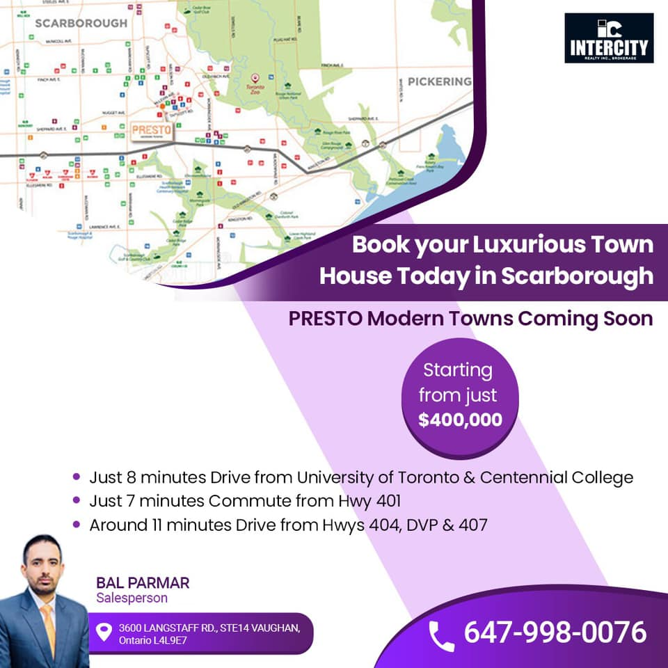 🏚️Book your Luxurious Town House Today in Scarborough  🔥🏢PRESTO Modern Towns Coming Soon  starting from just $400,000 ✅Call Bal Parmar 📞 647-998-0076 #realestate #realtor #realestateagent #home #property #forsale #investment #realtorlife #newhome #dreamhome #interiordesign https://t.co/tZPvdqeXwf