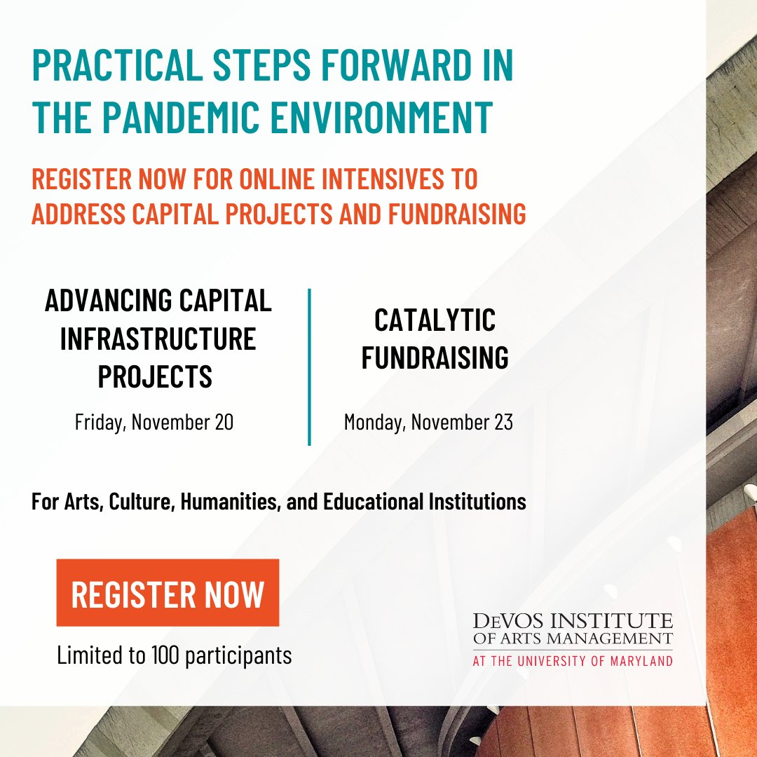 The Institute is pleased to announce two #onlineintensives designed for leaders of #nonprofit #arts, #culture, #educational, and #heritage organizations - providing practical #strategies for re-calibration during the #pandemicera.  Learn more & register at https://t.co/Xl7DIzXgpZ https://t.co/yHGYqaOTw6