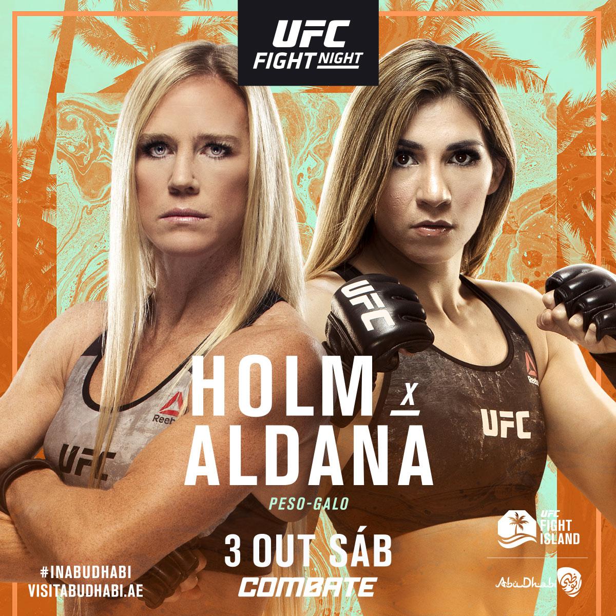 Próxima parada 🏝 #UFCFightIsland4 🇺🇸 @HollyHolm 🆚 @IreneAldana_ 🇲🇽 📅 Sábado, 3 de outubro ⏰ A partir das 20h30 (horário de Brasília) 📺💻📱 Ao Vivo e exclusivo no @canalCombate. Assine já ➡ https://t.co/ft1a87ueBk https://t.co/5xrOqdAnZn