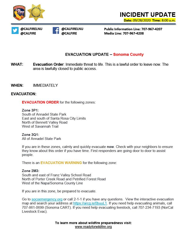 Sonoma County Evacuation Update  #CALFIRE #CALFIRELNU https://t.co/OHaQdFzh9V