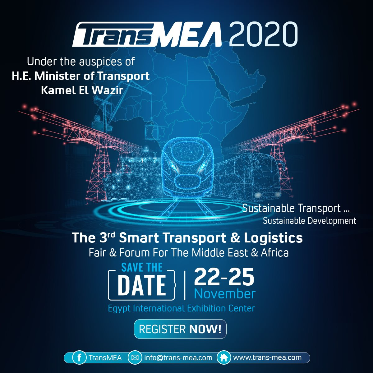 SAVE THE DATE #TransMEA2020 #TransMEA 2020 22 - 25 November 2020  under the auspices of H.E. Minister of Transport Kamel El-Wazir #transport #maritime #aviation #logistics #airports #transportation #ports #shipping https://t.co/4ztIMUEgJA